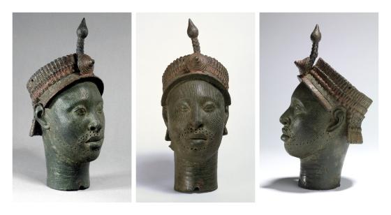 Ife hoofd, c. 14de of vroege-15de eeuw, messing, 35 x 12.5 x 15 cm, British Museum, London. Foto via: British Museum © The Trustees of the British Museum.